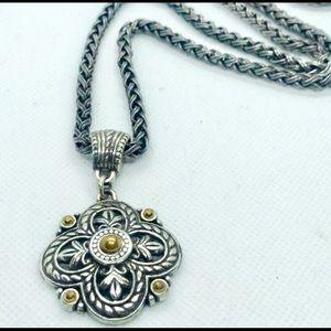 VTG Brighton Fleur De Lis Clover Necklace
